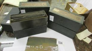 Victorian glass negatives - A collection in three old photographic boxes,