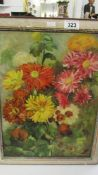 A. F. Dowling mid 20th century oil on board carnations in a garden, framed.