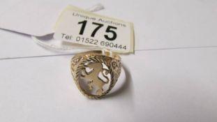 A 9ct gold Scottish rampant lion ring, size S. 2.6 grams.