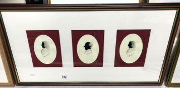 Jeff Gray, A triptych of watercolour silhouette portraits of music composers Frederic Chopin,