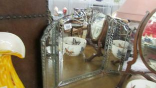 A good quality engraved triple dressing table mirror.