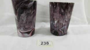 A Victorian Davidson pressed purple slag glass tumbler with smooth outside (11.