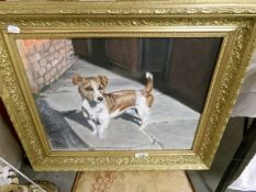 A British late 20th century gilt framed oil on board painting of a Jack Russell dog entitled 'Benji