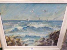 Marion Abernethy Irish oil on board 'Gulls in Flight' above a rocky sea shore, Donegal coast,