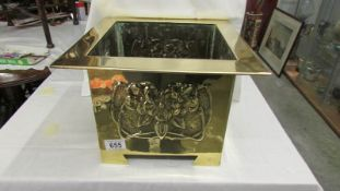 A lovely arts and crafts brass planter.