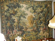 A large vintage handmade 20th century wall hanging tapestry.