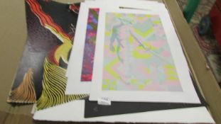 Portfolio of 14 mainly signed limited edition modernist/abstract screen prints various subjects and