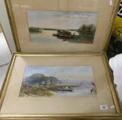 A pair of framed and glazed watercolours of lake scenes with boats, one signed W W Gosling.