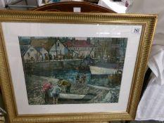 A framed and glazed fishing harbour scene signed Holness, '59.