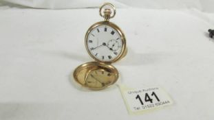 A 9ct gold cased full hunter pocket watch, Swiss movement No.