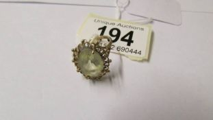 A 9ct gold and quartz dress ring.