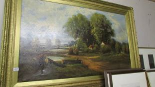 A large gilt framed oil on canvas rural scene, W Haines, (English 19th century), Frame 99 x 150 cm,