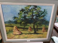 A 20th century Scottish school oil on board painting of cornstooks at Crieff in the colourist style,