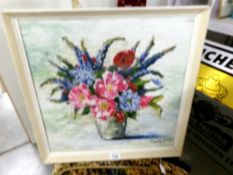 A Davis Thomas 20th century oil on board still life with flower, signed, framed.