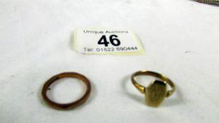 2 9ct gold ring, 4.2 grams.