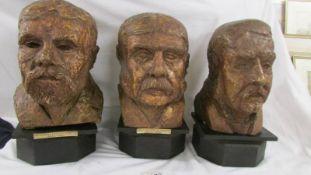 3 unusual plaster busts on wood bases, Richard D'Oyly Carte 1844 - 1901,