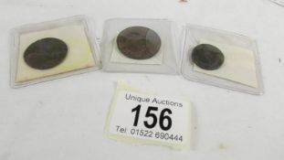 A George 1 1724 half penny, A George III 1806 EF farthing and a Lundy 1929 one puffin coin,