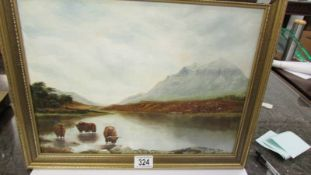 A Tricker 20th century oil on board of highland cattle watering in a Scottish landscape,