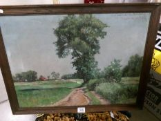A French school oil on canvas 'Old Track in Countryside' inscribed 44 on reverse.