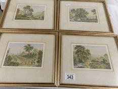 A set of 4 good quality coloured framed and glazed engravings of rural scenes.