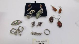 Six pairs of pendant earrings including amber, topaz etc together with 3 silver rings, brooches etc.