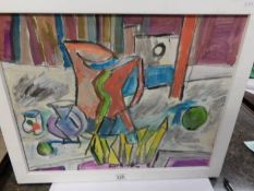 Karlkroke (European) 20th century in cubist abstract style, still life objects on a table, framed.