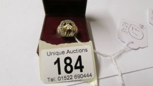 A 9ct gold horse shoe ring, size M half, 5.5 grams.