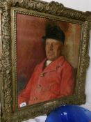 A gilt framed oil on canvas of a gentleman dressed for the hunt signed Phillipe 1932.