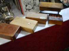5 old wooden boxes.