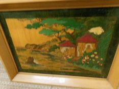 An Oriental marquetry picture, finely inlaid with coloured woods, possibly a Chinese shrine.