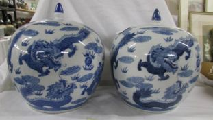 A striking pair of large blue and white lidded porcelain melon ginger jars with dragons chasing