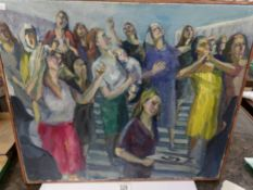 A mid 20th century British school oil on canvas 'Grieving woman on government steps', framed.
