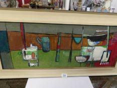 A mid 20th century British school abstract kitchen table still life, framed.