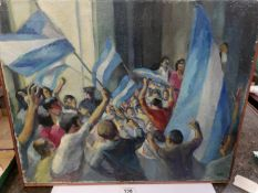 A mid 20th century British school oil on canvas of protestors waving flags, framed.