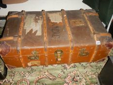 An old wood bound trunk.