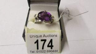 A 9ct gold white gold amethyst and diamond ring, size R.