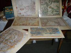 6 prints of antique maps.