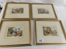 A set of 4 good quality framed and glazed coloured engravings of rural scenes.