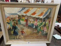 A 1950's oil on board of a market scene with women and children, signed but indistinct, framed.