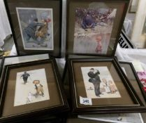 8 framed and glazed Lawson Wood comedy police prints (one glass a/f) and 2 similar prints.