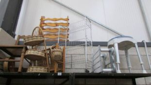 A mixed lot of basketware, wooden items and bathroom items.