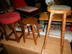 3 vintage stools (1 has sticker on top of seat)