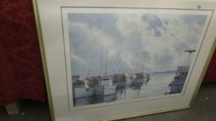 A framed and glazed limited edition print entitled 'Scallop Boats Mornington', signed Robert Cross,