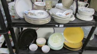 2 shelves of plates, dishes etc.
