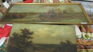 2 unframed oil on canvas rural scenes.
