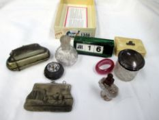 A silver plated purse, micro mosaic lidded pill box, desk calendar etc.