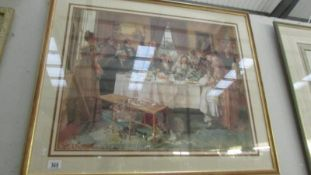 A framed and glazed print of a family at table.