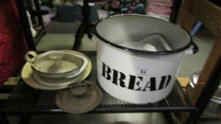 A mixed lot of enamel ware (bread bin missing lid).