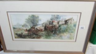 A framed and glazed watercolour signed Ruth Macleod.