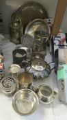 A mixed lot of silver plate trays etc.